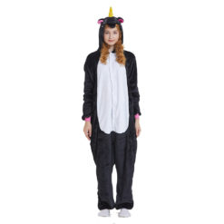 Black Unicorn Onesie Kigurumi Animal Costume Pajama for Adult
