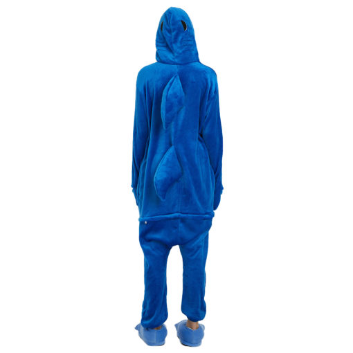 Blue Adult Shark Onesie Oajamas for Women Men Kigurumi Onesie