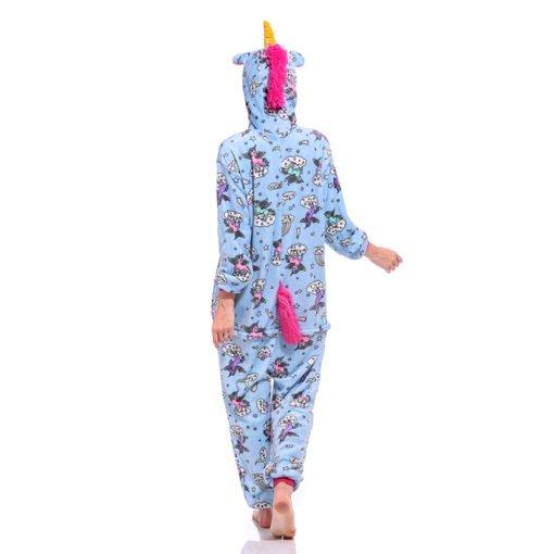 Blue Adult Unicorn Onesie Kigurumi Pajamas Animal Costumes