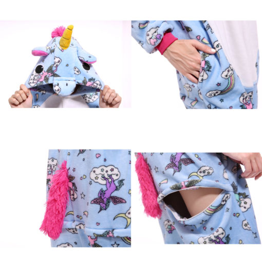 Blue Adult Unicorn Onesie Kigurumi Pajamas Animal Costumes
