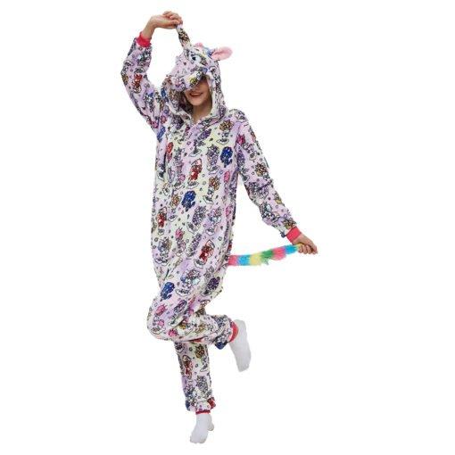 Colorful Adult Unicorn Onesie Kigurumi Pajamas Animal Costumes with Hooded