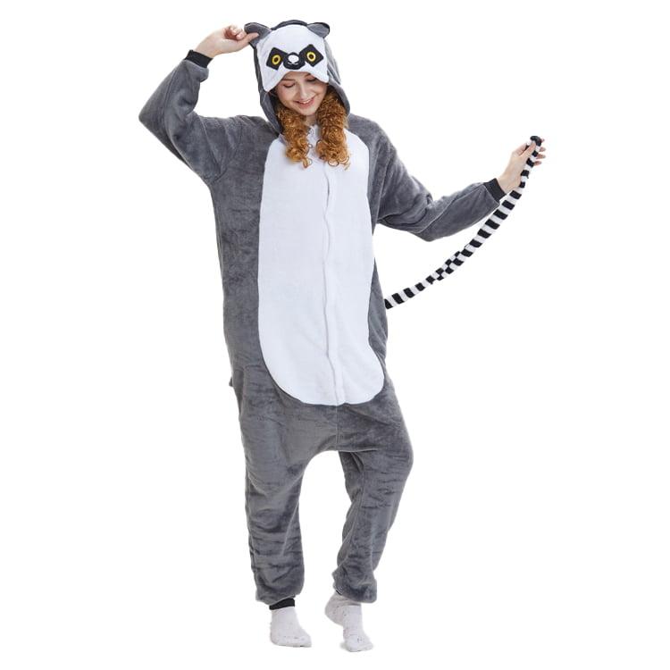 Kids Adult Animal Onesie10 Kigurumi Cosplay Pyjamas Costume Sleepwear Lemur