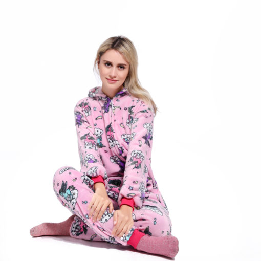 Pink Unicorn Kigurumi Onesie Pajamas Animal Costumes for Women Men