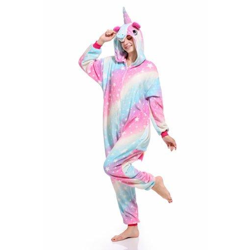 Rainbow Unicorn Onesie for Adult Kids Pastel Hologram Kigurumi Onesie