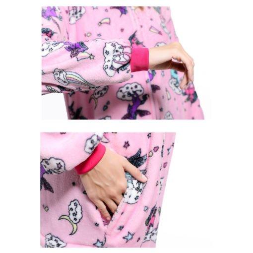 Pink Unicorn Kigurumi Onesie Pajamas Animal Costumes for Women Men detail
